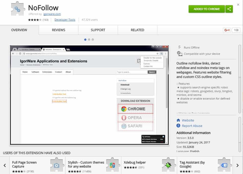 nofollow chrome extension by igorware
