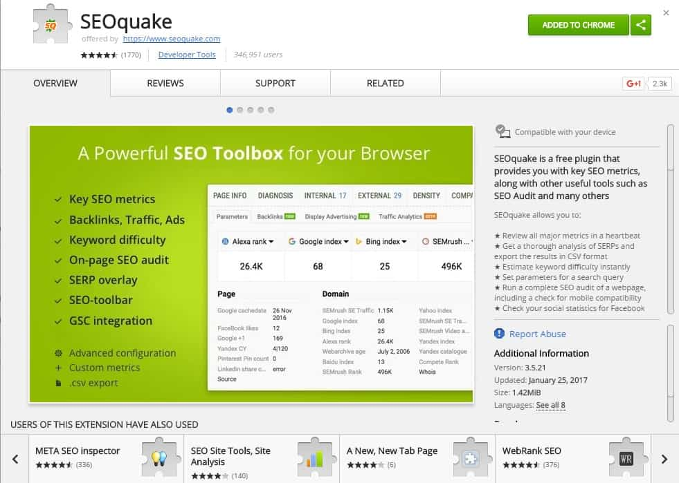 seo quake chrome extension by seoquake