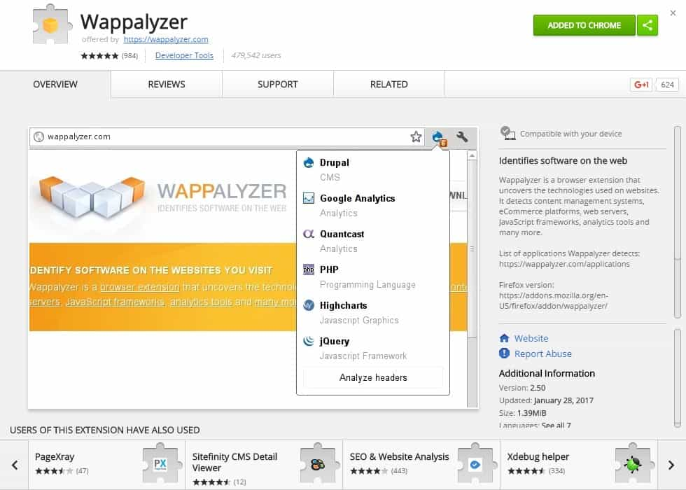 wappalyzer chrome extension by wappalyzer.com